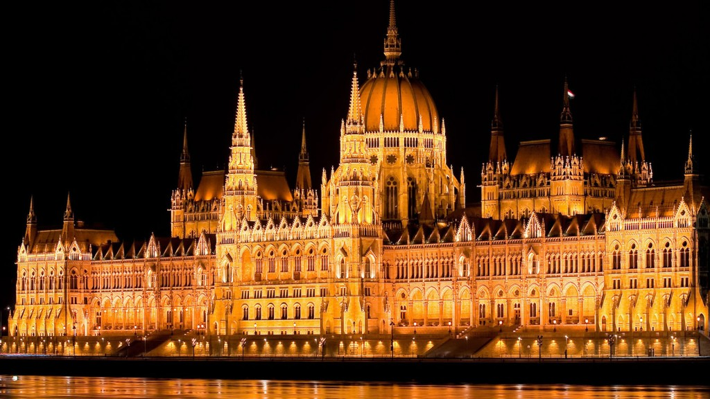 Hungary Budapest parliament night lights water Danube river Wallpaper