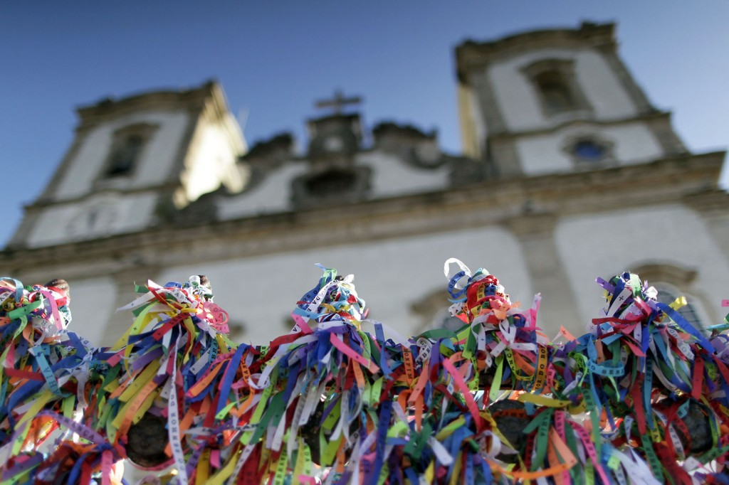 Bonfirm ribbons are seen on the entrance gate of the Church of Nosso Senhor do Bonfim in Salvador