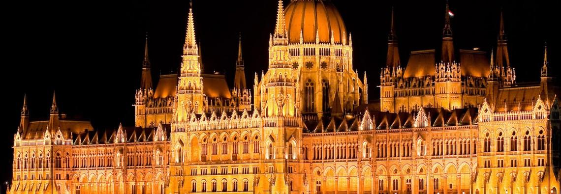 Hungary Budapest parliament night lights water Danube river Wallpaper